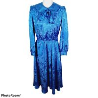 Vintage 80s Blue Pussybow Dress Secretary Long Sleeve Belted Peter Pan Collar