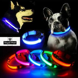 Dog Collar LED Flashing Luminous Nylon for Pet Night Safety Light Up ALL SIZE UK