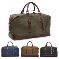Vintage Men's Leather Military Canvas Travel Luggage Shoulder Handbag Duffle Bag