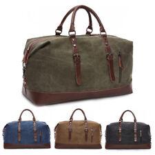 Vintage Men's Leather Military Canvas Travel Luggage Shoulder Handbag Duffle Bag