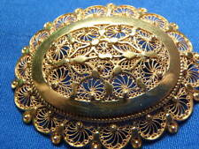 22K Solid Gold Large Hand Made Rare Filigree Pin Brooch 17.6 grams Lot 1273