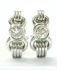 Diamond Solitaire Huggie Earrings 18Kt White Gold 1.00Ct G-VS2 20mm