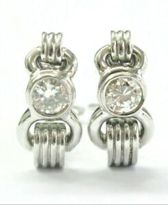 Diamond Solitaire Huggie Earrings 18Kt White Gold 1.00Ct G-VS2 20mm