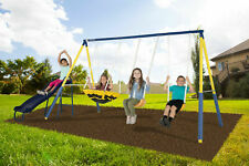 Sportspower Super Saucer Metal Swing Set with 2 Swings, Saucer Swing and Slide
