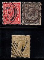 Großbritannien 1911-12 Mi. 122,138,139 Gestempelt 100% König Georg V.