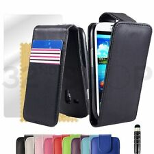 PU LEATHER FLIP CASE COVER FOR SAMSUNG GALAXY S4 / S4 Mini +SCREEN PROTECTOR