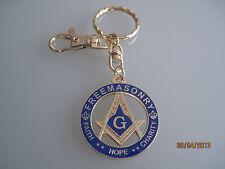 New Masonic Master Mason Cut out  Keychain Gold Blue