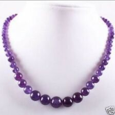 Lovely!6-14mm Amethyst Round Beads Gemstone Necklace 17.5""