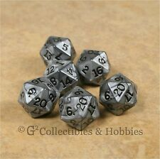NEW Set of 6 Pearlized Olympic Silver D20 Dice RPG D&D Gaming Twenty Sided Die