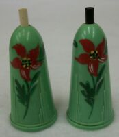 Vintage HP Jade Green Art Deco Sonettes Push Button Salt & Pepper Shaker Set