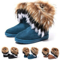 Womens Winter Warm Snow Boots Fluffy Fur Boot Ankle Boot Shoes UK Size 6.5-9