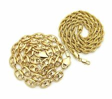 "Hip Hop Fashion Chunky 8mm 30"" Rope Chain, 12mm 30"" Marina Chain 2 Necklace Set"