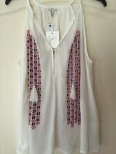 NEW JOIE Eniko I Embroidered Cotton Tank Top/Blouse Size L $168 Boho Festival