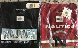 Lot 2 Nautica Navy Red Competition Men's T Shirt Maritime Sleepshirt Sz Medium