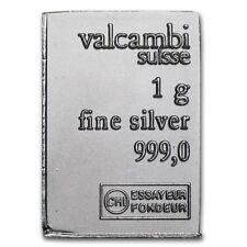Valcambi Silver 1 Gram Suisse Bar .999 Fine Pure Solid Silver Bullion