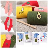 1 Pair Women Girl Cotton Warm High Socks 3D Fruit Embroidery Hosiery Socks Gift