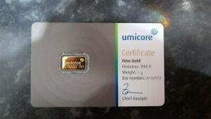 1 GRAM GOLD BAR - UMICORE -  999.9 fineness- 24k certified sealed BRAND NEW
