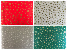 Christmas Fabric Per Metre Gold Silver Xmas Stars Tablecloth Material Craft Sew