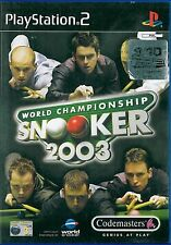 World Championship Snooker 2003 Sony Playstation 2 PS2 3+ Game