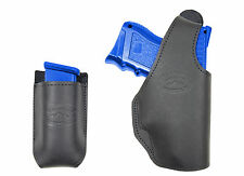 New Barsony Black Leather OWB Belt Holster + Mag Pouch HK FNX Compact 9mm 40 45