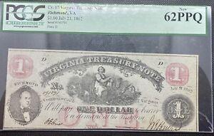 1862 $1 Virginia Treasury Note PCGS 62PPQ