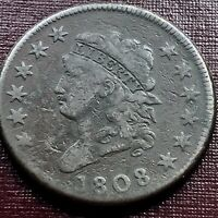 1808 Large Cent Classic Head One Cent 1c Higher Grade F - VF Rare #17974