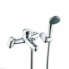 Bathroom Single Lever Bath Shower Mixer Tap Hose Handset Holder Chrome Brass RIO