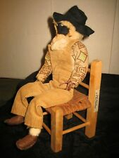 CUTE VINTAGE N. C. BLIND CRAFTSMEN HAND MADE FOLK ART ETHNIC DOLL W WOOD CHAIR
