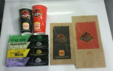 Jurassic Park The Lost World 1997 Burger King Watches, Cups & Paper Bags Unused