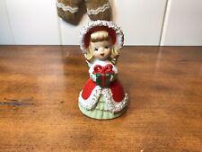 Vintage Lefton 4.5� Christmas Angel Holding Present Bell W/ Spaghetti Trim