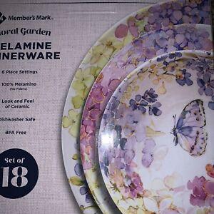 Melamine Outdoor Dinnerware Floral Garden Serves 6 Shatterproof 18 Piece Set NWD
