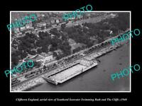 OLD LARGE HISTORIC PHOTO OF CLIFFTOWN ENGLAND, AERIAL VIEW OF SWIMMING BATH 1940