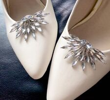 Fashion Acrylic Crystal Wedding Bridal Diamante Crystal Sparkle Shoe Clips Pair