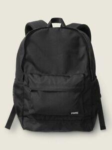 Victoria's Secret PINK Pure Black Classic Backpack School Book Bag NWT