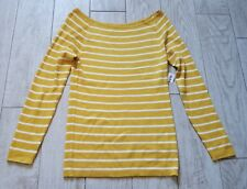 NWT Old Navy rib-knit off-the-shoulder sweater size large L - lime yellow stripe