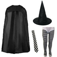 CHILDRENS KIDS GIRLS STRIPED WITCH FANCY DRESS COSTUME & TIGHTS WORLD BOOK DAY