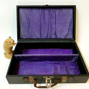 Vintage 1940s Divided Wood Storage Box 29x18x8cm Leather Handle, Purple Lining