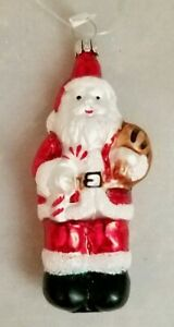 """Santa Claus Toys Candy Cane Small Ornament 4"""" Glass Vintage Inspired Gift"""