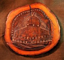 Jerusalem Carved Olivewood Plaque- Dome of the Rock/Temple Mount Souvenir c.1890