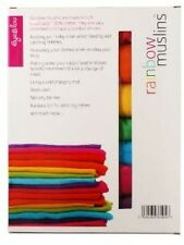 Rainbow Muslins Gorgeous Coloured Muslin Cloths Vibrant Colours (Pack Of 7)