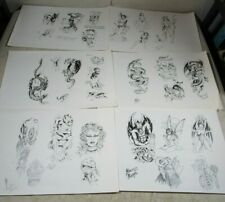 6 Vintage 1980's Ron Lopez Tattoo Flash Art Sheets B&W