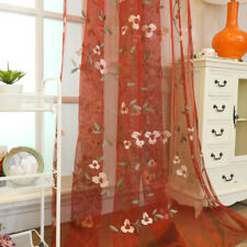 Simple Small White Floral Green Branches Embroidered on Cream Red Sheer Curtains