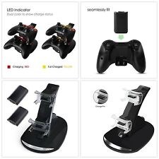 Xbox 360 Controller Charger Dual Dock With Two Battery Pack Kit Fast Charging