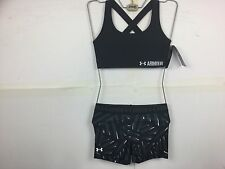 Under armour ladies crossback mid-impact bra short set L LARGE black heatgear
