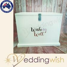 Large Wishing Well with Rose Gold Decal, Lockable Wedding Card Box