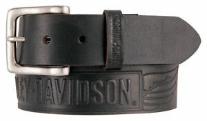 Harley-Davidson Men's Embossed Crosswind Leather Belt, Black HDMBT11334-BLK