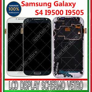 DISPLAY PER SAMSUNG GALAXY S4 I9505 LCD VETRO TOUCH SCREEN SCHERMO CON FRAME GLS