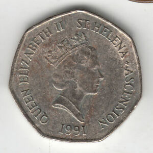 ST HELENA 50 PENCE 1991 TURTLE                  16P              BY COINMOUNTAIN