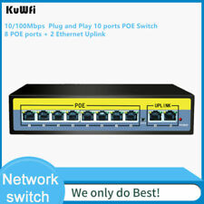 10 Port PoE Switch, 2 port UpLink, 802.3af/at Metal Plug & Play Network Switch