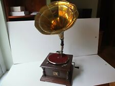 Gramophone with brass horn,serviced.